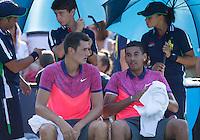BERNARD TOMIC (AUS) &amp; NICK KYRIOS (AUS)<br /> The US Open Tennis Championships 2014 - USTA Billie Jean King National Tennis Centre -  Flushing - New York - USA -   ATP - ITF -WTA  2014  - Grand Slam - USA  27th August 2014. <br /> <br /> &copy; AMN IMAGES