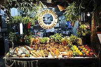 Open kitchen and seafood showcase of Cavo Doro restaurant in Rethymno, Crete