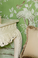 Detail of the chinoiserie de Gournay wallpaper in the dining room