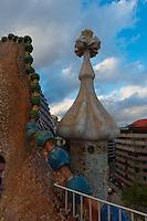 Roof of the House of Batllo (Casa de Batllo) in Barcelona, Spain