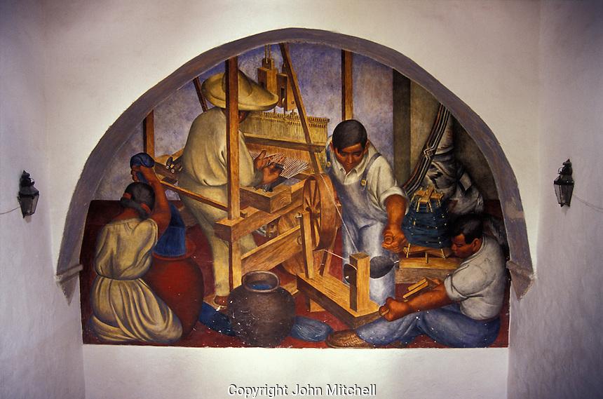 Murals depicting Mexican artisans at work, Escuela de Bellas Artes or Centro Cultural Nigromante in San Miguel de Allende, Guanajuato state, Mexico