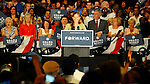 LAURA FONG | SUMMER KENT STATER Obama supporter Jen Ackerman, from Cuyahoga Falls, Ohio, introduces President Barack Obama at the John S Knight Center in Akron Wednesday.