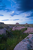 Pawnee Grasslands after sunset during the blue time, clouds above the Pawnee Buttes.