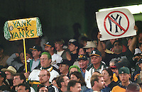 Oakland Athletics fans show their feeling for the visiting New York Yankees during the 2000 American League Playoffs. (photo 2000 by Ron Riesterer)