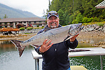 Eagle Nook Wilderness Resort and Spa is located on a remote area of Vancouver Island.   Guest Greg and his Chinook catch of the day.