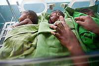 premature and under wieght babies  in the maternity ward in Homa Bay  Hospital, Kenya. Children born to HIV positive women are often underwieght and premature. The mothers will not know the status of their babies  for 18 months.