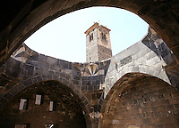 Minaret seen from Mamluk Baths, called The Manjak Bath, built by Manjak al-Yufi, viceroy of Damascus, 1372 AD, Bosra, Syria Picture by Manuel Cohen