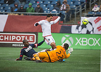 Foxborough, Massachusetts - March 28, 2015: The New England Revolution (blue and red) defeated SJ Earthquake (white and red), 2-1 in a Major League Soccer (MLS) match at Gillette Stadium.