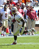Oct 2, 2010; Charlottesville, VA, USA; Florida State Seminoles tight end Beau Reliford (88) runs with the ball during the game against the Virginia Cavaliers at Scott Stadium. Florida State won 34-14.  Mandatory Credit: Andrew Shurtleff-