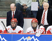 Buddy Powers (BU - Assistant Coach), Sean Escobedo (BU - 21), Joe Pereira (BU - 6), Jack Parker (BU - Head Coach) - The visiting Merrimack College Warriors tied the Boston University Terriers 1-1 on Friday, November 12, 2010, at Agganis Arena in Boston, Massachusetts.