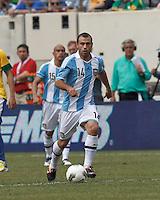 Argentina midfielder Javier Mascherano (14) at midfield. In an international friendly (Clash of Titans), Argentina defeated Brazil, 4-3, at MetLife Stadium on June 9, 2012.