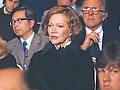 First lady Rosalynn Carter looks on as United States President Jimmy Carter (not pictured) holds a press conference at the White House in Washington, DC on February 13, 1980.<br /> Credit: Arnie Sachs / CNP