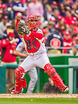 4 April 2014: Washington Nationals catcher Jose Lobaton in action against the Atlanta Braves during the Nationals Home Opening Game at Nationals Park in Washington, DC. The Braves edged out the Nationals 2-1 in their first meeting of the 2014 MLB season. Mandatory Credit: Ed Wolfstein Photo *** RAW (NEF) Image File Available ***
