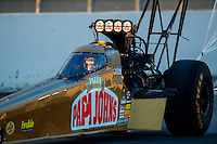 Feb 11, 2017; Pomona, CA, USA; NHRA top fuel driver Leah Pritchett during qualifying for the Winternationals at Auto Club Raceway at Pomona. Mandatory Credit: Mark J. Rebilas-USA TODAY Sports
