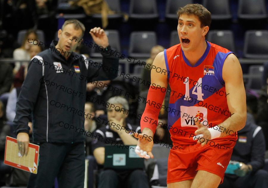 Odbojka Volleyball<br /> Srbija v Bugarska-Prijateljski mec<br /> Aleksandar Atanasijevic (R) and head coach Nikola Grbic<br /> Beograd, 29.12.2015.<br /> foto: Srdjan Stevanovic/Starsportphoto &copy;