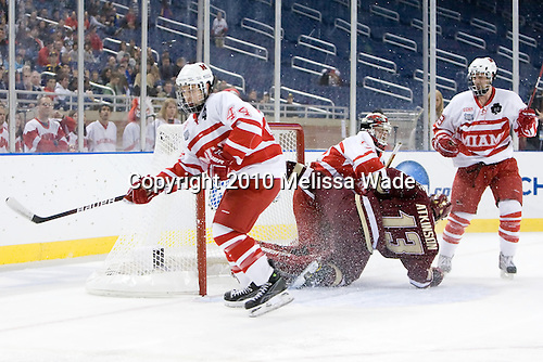 Steven Spinell (Miami - 44), Connor Knapp (Miami - 31), Cam Atkinson (BC - 13), ? - The Boston College Eagles defeated the Miami University RedHawks 7-1 in the 2010 NCAA Frozen Four Semi-Final on Thursday, April 8, 2010, at Ford Field in Detroit, Michigan.