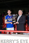 Kerry Captain Killian Young recieves the McGrath cup from Diarmuid O'Sullivan, Chairman of the Munster Council after Kerry Defeated Limerick at the Gaelic Grounds on Sunday.