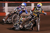Heat 10: Joe Screen (yellow) and Stuart Robson (blue) - Lakeside Hammers vs Wolverhampton Wolves, Elite Shield Speedway at the Arena Essex Raceway, Purfleet - 26/03/10 - MANDATORY CREDIT: Rob Newell/TGSPHOTO - Self billing applies where appropriate - 0845 094 6026 - contact@tgsphoto.co.uk - NO UNPAID USE.