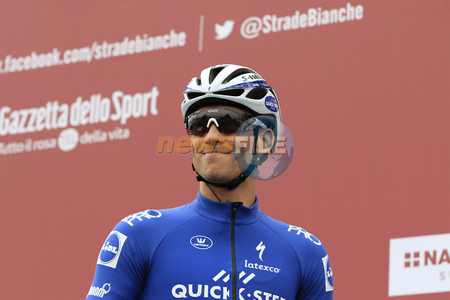 Zdenek Stybar (CZE) Quick-Step Floors at sign on before the start of the 2017 Strade Bianche running 175km from Siena to Siena, Tuscany, Italy 4th March 2017.<br /> Picture: Eoin Clarke | Newsfile<br /> <br /> <br /> All photos usage must carry mandatory copyright credit (&copy; Newsfile | Eoin Clarke)