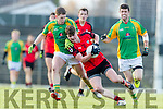 Dara O'Shea Kenmare in action against Jack O'Dea Kilfenora in the Munster Intermediate Club Football Championship Semi-Final at Fitzgerald Stadium on Sunday.