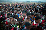 LUDZIDZINI, SWAZILAND - AUGUST 31: Young Swazi girls dance at a traditional Reed dance ceremony at the stadium at the Royal Palace on August 31, 2009, in Ludzidzini, Swaziland. About 80.000 virgins from all over the country attended this yearly event, the biggest in Swazi culture. It was founded to celebrate the beauty of Swazi women and girls. King Mswati III, and absolute monarch, was born in 1968 and he has 14 wives and many children. The king danced with his men in front of the 80.000 girls. Many of the girls hope to get noticed by the king and to be chosen as a future wife, a ticket from poverty and into a life of privilege and luxury. The country is one of the poorest in the world and it is struggling with a high prevalence of HIV-Aids and severe poverty. (Photo by: Per-Anders Pettersson)..