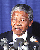 Washington, D.C. - June 25, 1990 -- Nelson Mandela, leader of the African National Congress (ANC) holds a press conference after he met with United States President George H.W. Bush at the White House on Monday, June 25, 1990.  .Credit: Ron Sachs / CNP