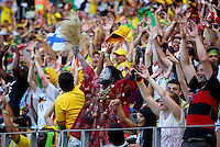A Ghana supporter joins in with a Mexican wave