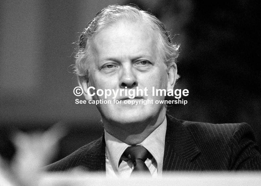 Barney Hayhoe, MP, Conservative Party, UK, Treasury minister, on platform at party conference, Brighton, 1984. 19840149BH2..Copyright Image from Victor Patterson, 54 Dorchester Park, Belfast, UK, BT9 6RJ..Tel: +44 28 9066 1296.Mob: +44 7802 353836.Voicemail +44 20 8816 7153.Skype: victorpattersonbelfast.Email: victorpatterson@me.com.Email: victorpatterson@ireland.com (back-up)..IMPORTANT: If you wish to use this image or any other of my images please go to www.victorpatterson.com and click on the Terms & Conditions. Then contact me by email or phone with the reference number(s) of the image(s) concerned.