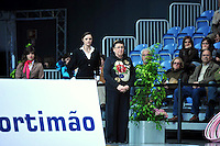 (L-R) Anna Bessonova with Albina Deriugina of Ukraine (coaches) watch their gymnast perform at 2010 World Cup at Portimao, Portugal on March 13, 2010.  (Photo by Tom Theobald).