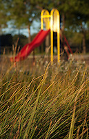 A colorful child's slide sits beyond the grasses