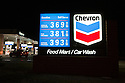 A night view of gas price list at Chevron gas station on March 6, 2008. Mountain View, California, USA