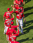 26 April 2014: Washington Nationals right fielder Jayson Werth leads a row of post-game high fives after a game against the San Diego Padres at Nationals Park in Washington, DC. The Nationals shut out the Padres 4-0 to take the third game of their 4-game series. Mandatory Credit: Ed Wolfstein Photo *** RAW (NEF) Image File Available ***