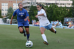 26 August 2012: UNC's Reilly Parker (13) and Montreal's Virginie Levesque (CAN) (21). The University of North Carolina Tar Heels defeated the University of Montreal Caribins 1-0 in overtime at Fetzer Field in Chapel Hill, North Carolina in an international women's collegiate friendly game.