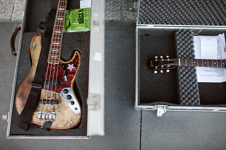 September 7, 2012. Raleigh, North Carolina..Back stage guitars at City Plaza on day 2 of Hopscotch 2012.