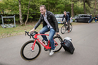 former riders Steven Dejongh & Steven Dejongh arriving at the Tom Boonen farewell race/criterium 'Tom Says Thanks!' in Mol/Belgium for the 'ex-proriders-race'