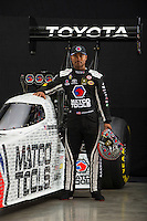 Jan 13, 2016; Brownsburg, IN, USA; NHRA top fuel driver Antron Brown poses for a portrait during a photo shoot at Don Schumacher Racing. Mandatory Credit: Mark J. Rebilas-USA TODAY Sports