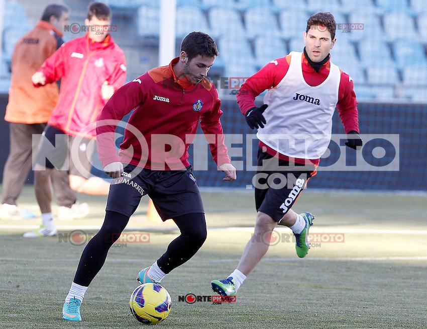 Getafe's Alvaro Vazquez (l) and Jaime Gavilan during training session.December 05,2012.(ALTERPHOTOS/Acero) /NortePhoto