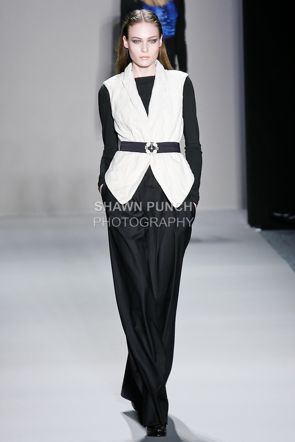 Basia S. walks the runway in a Nicole Miller Fall 2011 outfit, during Mercedes-Benz Fashion Week.