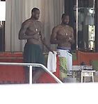 Miami Heat super stars LeBron James and Dwyane Wade with family during Miami beaches day