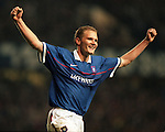 Jonatan Johansson celebrates scoring for Rangers against Bietar Jerusalem