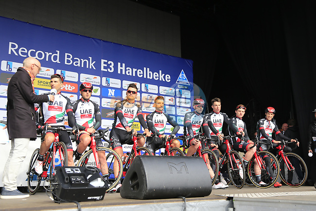 UAE Emirates team presented to the crowd before the start of the 60th edition of the Record Bank E3 Harelbeke 2017, Flanders, Belgium. 24th March 2017.<br /> Picture: Eoin Clarke | Cyclefile<br /> <br /> <br /> All photos usage must carry mandatory copyright credit (&copy; Cyclefile | Eoin Clarke)