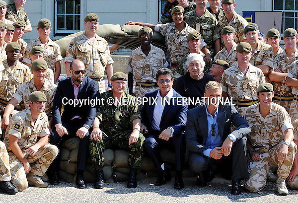 "SYLVESTER STALLONE, DOLPH LUNDGREN AND JASON STATHAM.visited the Prince of Wales Royal Regiment at Wellington Barracks, London..The stars of ""Expendables"" got the chance to the feel of some of the high powered weaponry at the base_09/08/2010..Photo Credit: ©Harmer_Newspix International..**ALL FEES PAYABLE TO: ""NEWSPIX INTERNATIONAL""**..PHOTO CREDIT MANDATORY!!: NEWSPIX INTERNATIONAL..IMMEDIATE CONFIRMATION OF USAGE REQUIRED:.Newspix International, 31 Chinnery Hill, Bishop's Stortford, ENGLAND CM23 3PS.Tel:+441279 324672  ; Fax: +441279656877.Mobile:  0777568 1153.e-mail: info@newspixinternational.co.uk."