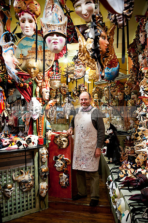Alberto Sarria, Venetian artisan mask maker in his workshop at San Polo in Venice, Italy