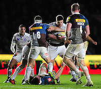 Matt Banahan of Bath Rugby takes on the Harlequins defence. Aviva Premiership match, between Harlequins and Bath Rugby on November 27, 2016 at the Twickenham Stoop in London, England. Photo by: Patrick Khachfe / Onside Images