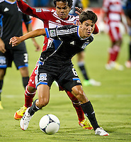 SANTA CLARA, CA - July 18, 2012: San Jose Earthquake midfielder Shea Salinas (6) during the San Jose Earthquakes vs  FC Dallas match at the Buck Shaw Stadium in Santa Clara, California. Final score San Jose Earthquakes 2, FC Dallas 1.