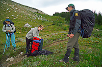 Skyline Trail, Jasper National Park, Alberta, Canada, July 2006. Always have your permit ready for inspection by park wardens. Trekking the Skyline Trail takes you over mountain ridges and through green alpine meadows offering spectaculair mountain landscapes and lots of wildlife. Photo by Frits Meyst/Adventure4ever.com.