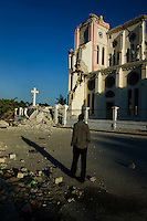 Port au Prince, Haiti, January 15 2010.Cathedrale Notre-Dame was totally destroyed during the 12th january earthquake, measuring 7.0 on the Richter scale. Most of Port au Prince landmarks have been severely damaged.