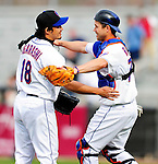 2 March 2010: New York Mets' relief pitcher Ryota Igarashi is congratulated by catcher Shawn Riggans after closing out a game against the Atlanta Braves on the Opening Day of Grapefruit League Spring Training play at Tradition Field in Port St. Lucie, Florida. The Mets defeated the Braves 4-2. Mandatory Credit: Ed Wolfstein Photo