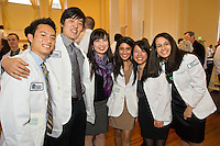 Class of 2015 White Coat Ceremony. Andrew Nobe, from left, Kyung Min, Chieh Kuo, Anisha Patel, Janet Trang, Avanti Golikeri.