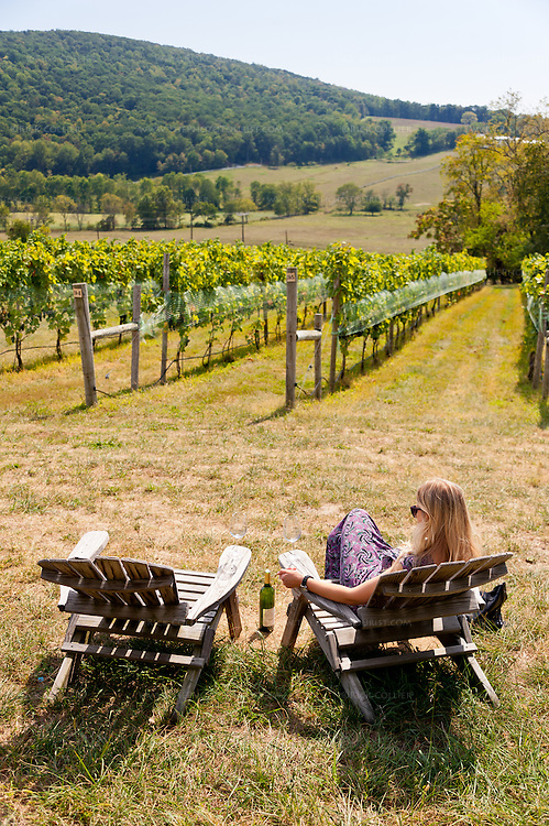 A visitor contemplates her wine and the view at Hillsborough Vineyards.
